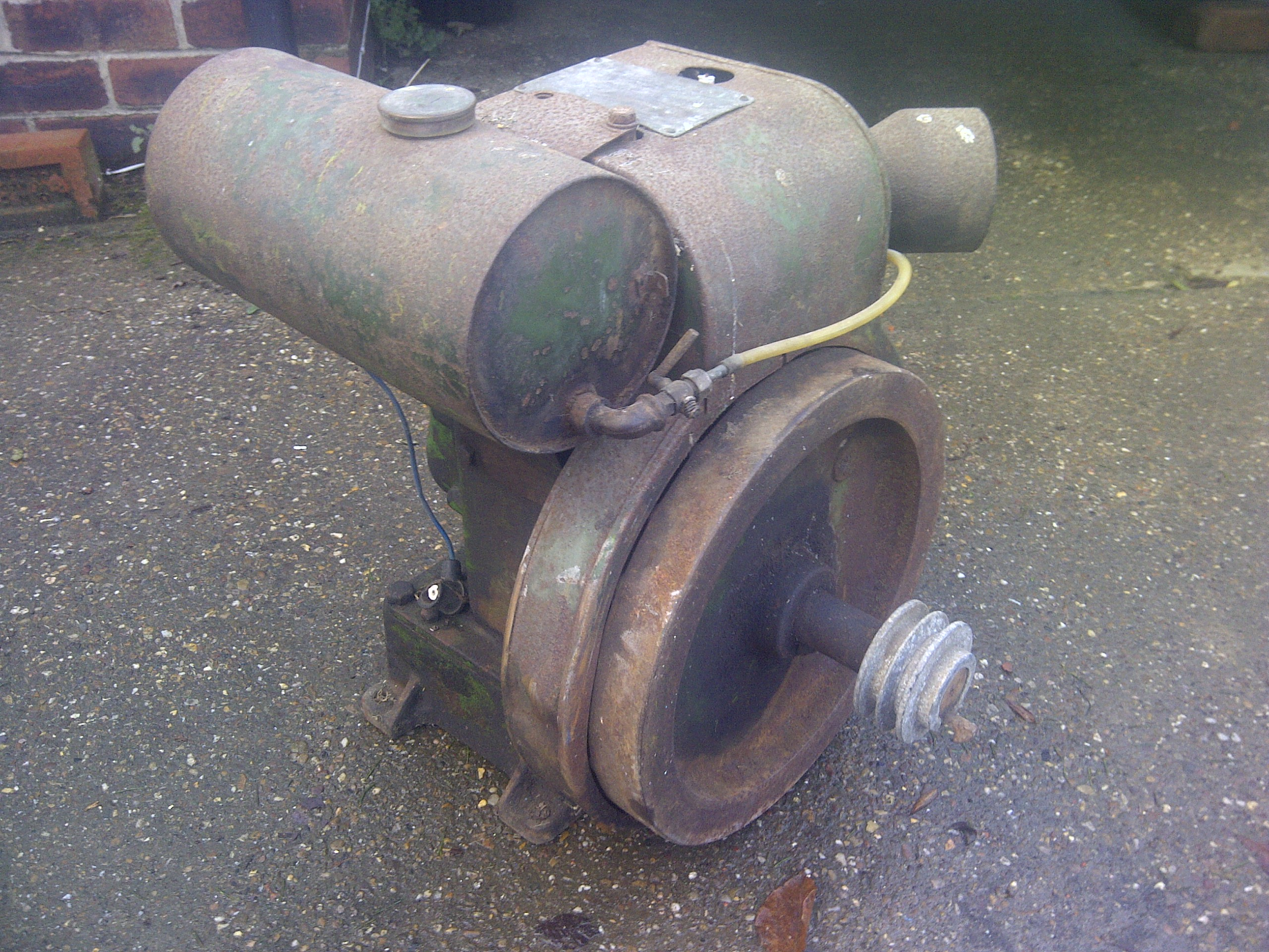 A Petter A type air cooled stationary engine before restoration.