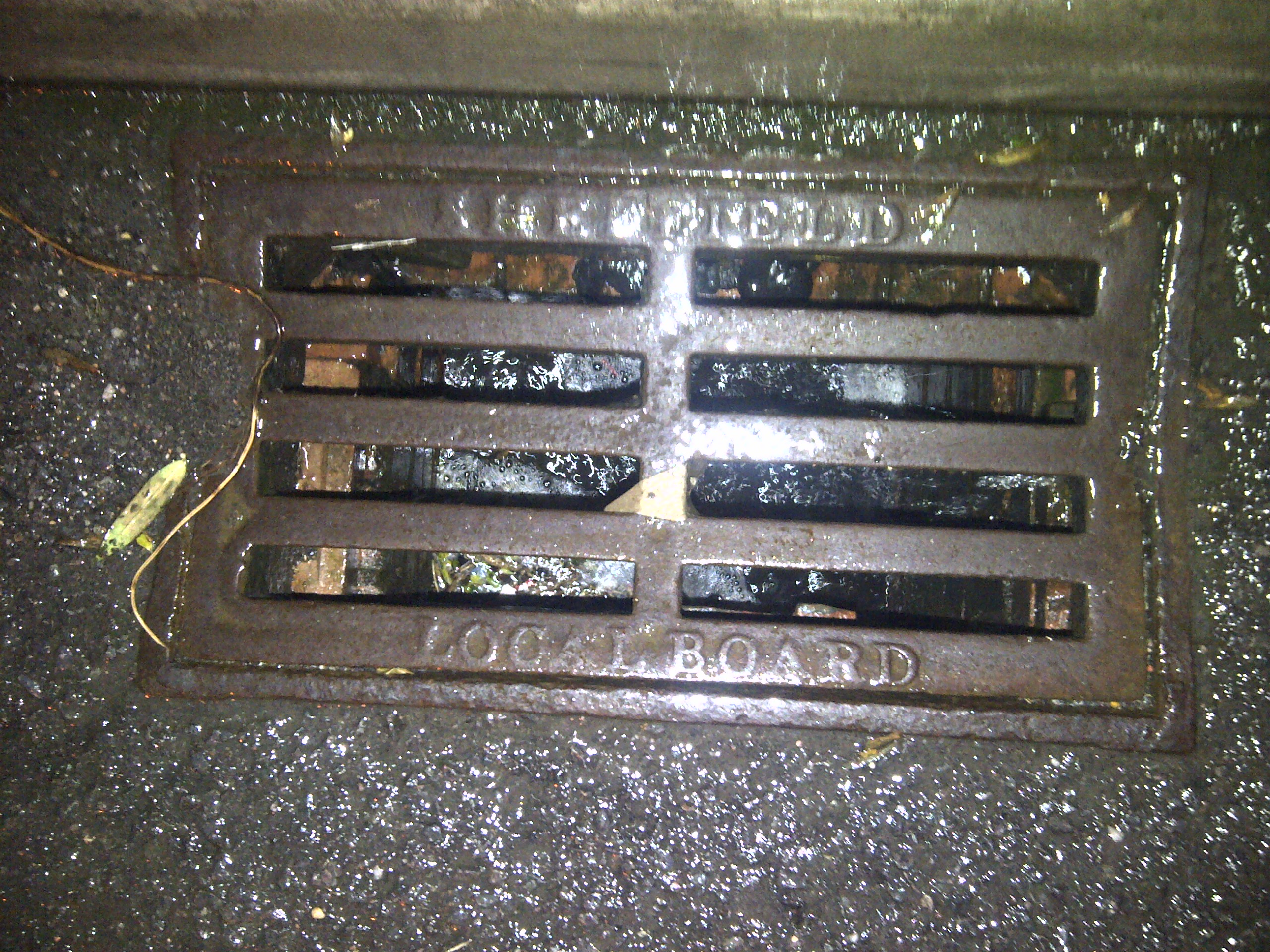 This drain cover carries the legend 'SHEFFIELD LOCAL BOARD' which apparenty referrs to the Local Board of Health, an organisation set up in sheffield in the mid 1800s.