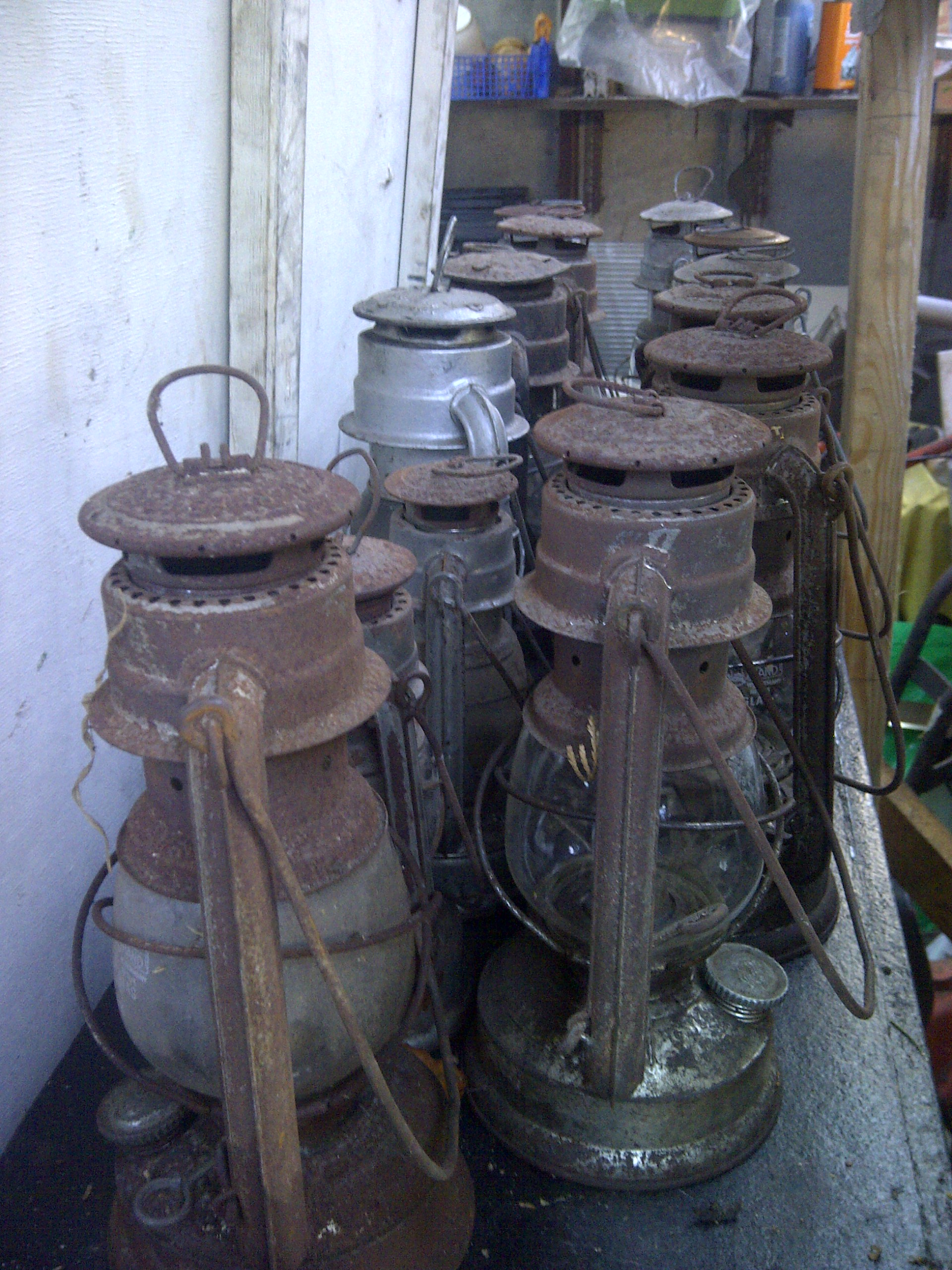Old hurricane lamps.